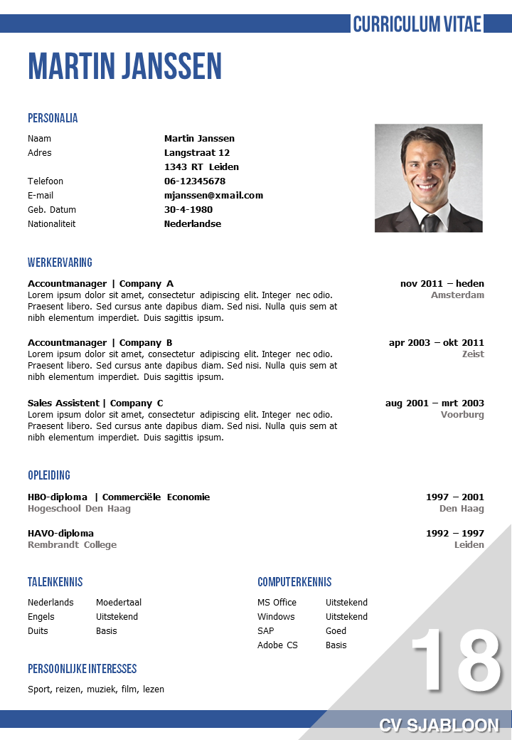 voorbeeld curriculum vitae accountmanager