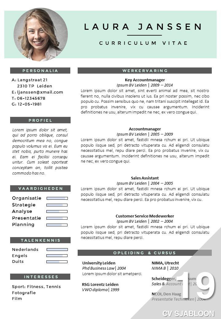 Populair Sjabloon Cv Word GF48 | Belbin.Info