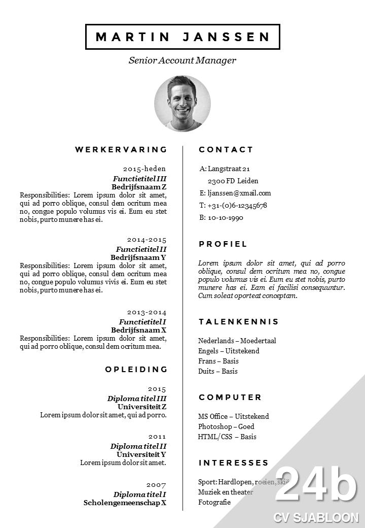 CV Sjabloon 24b   De Leydsche CV Advies en ontwerp