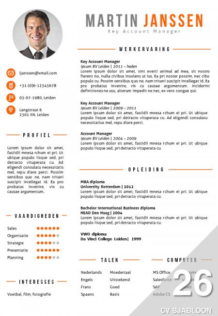 CV Sjabloon 26   De Leydsche CV Advies en ontwerp