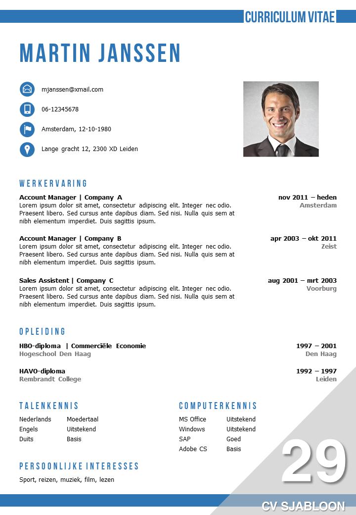 CV maken: CV Template 29