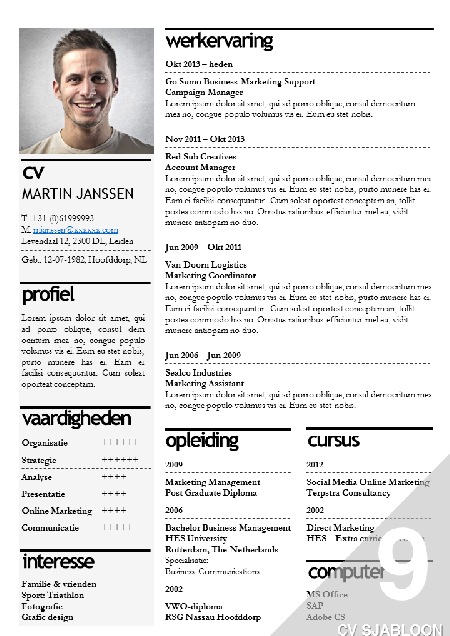 CV template / cv sjabloon