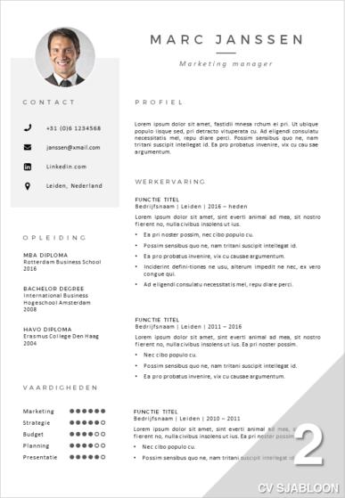 Voorbeeld CV Sjabloon 2